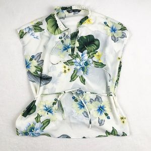 ZARA Tropical Floral Blouse with Tie Waist
